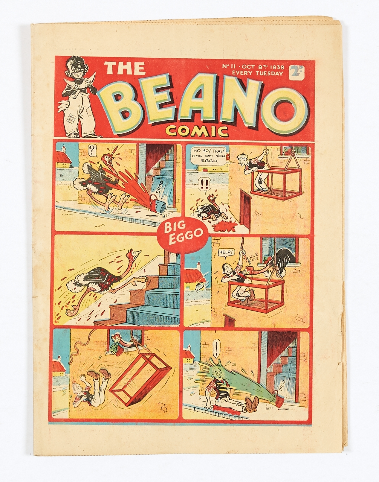 Lot 14 - Beano No 11 (1938). Only a few copies known to exist. Bright cover, cream/light tan pages, page