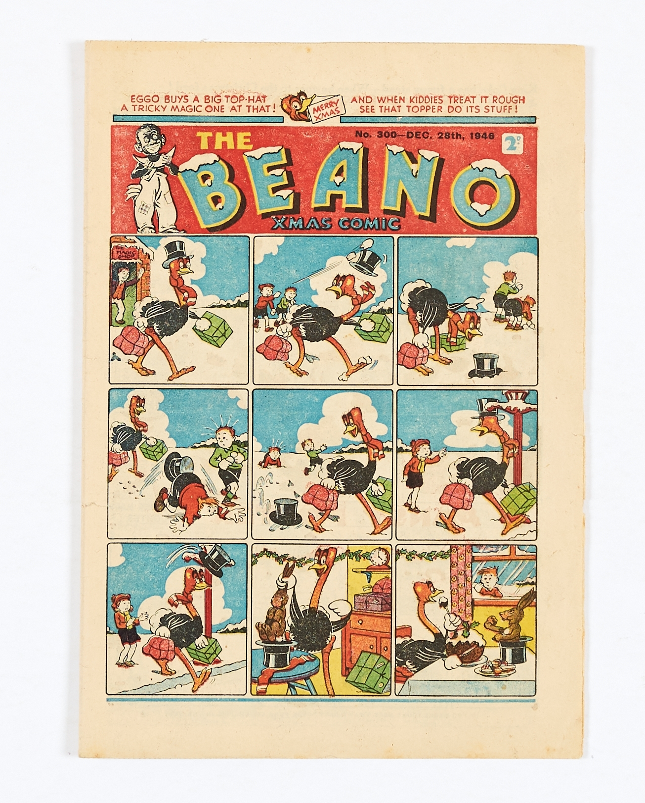 Lot 25 - Beano 300 (1946) Xmas Comic. Shipwrecked Circus double page story by Dudley Watkins. Half inch spine