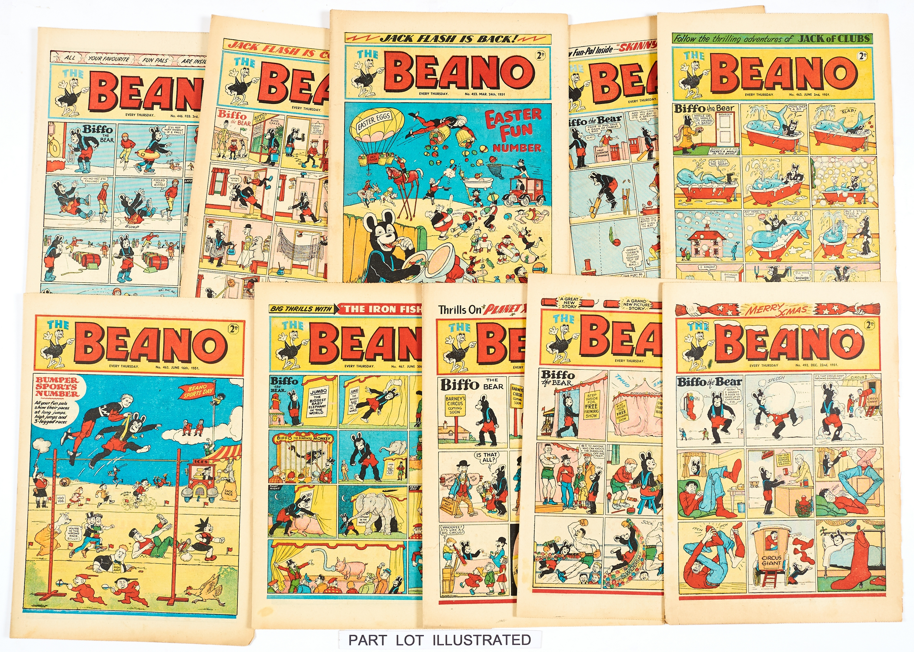 Lot 42 - Beano (1951) 442-493. Near complete year missing issues 444 and 472. Including No 452 1st Dennis The