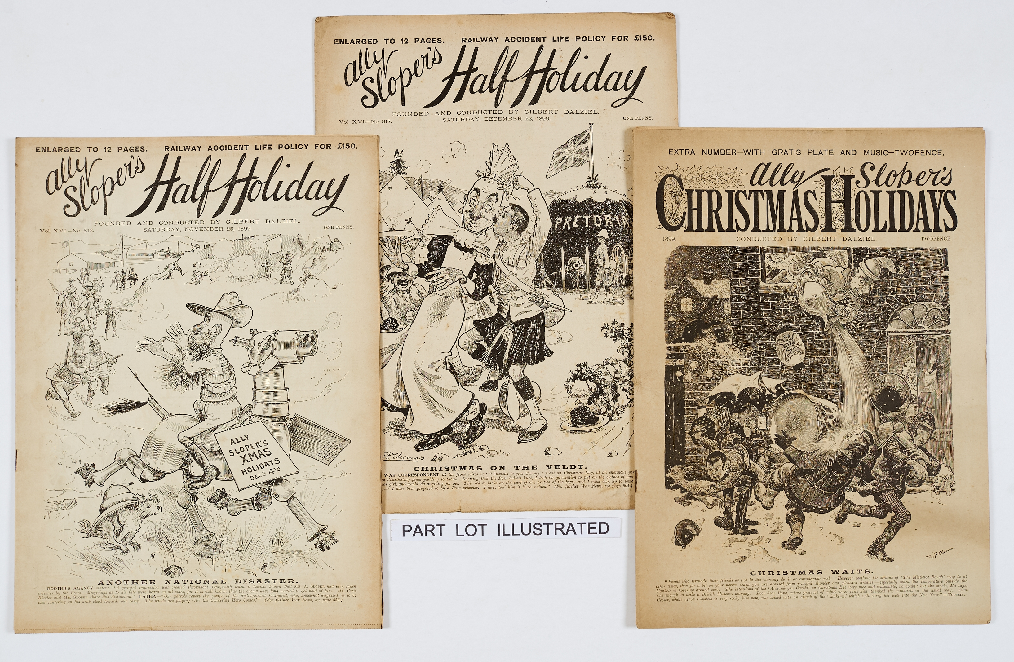 Lot 1 - Ally Sloper's Half Holiday (1899) 767-818. Complete year with Ally Sloper's Christmas Holidays