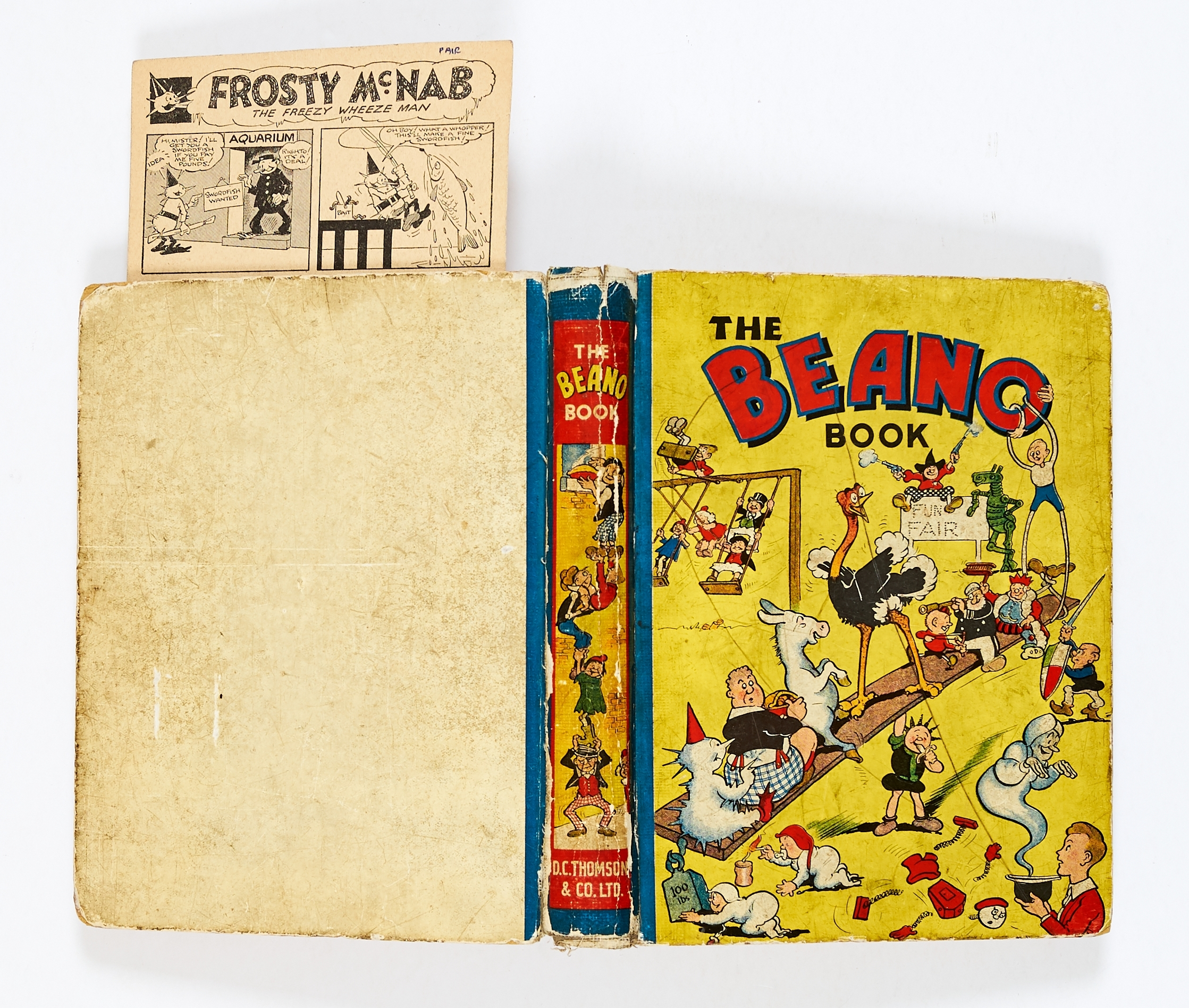 Lot 24 - Beano Book No 1 (1940). Worn boards, hinges and near complete spine. Cream/light tan pages with
