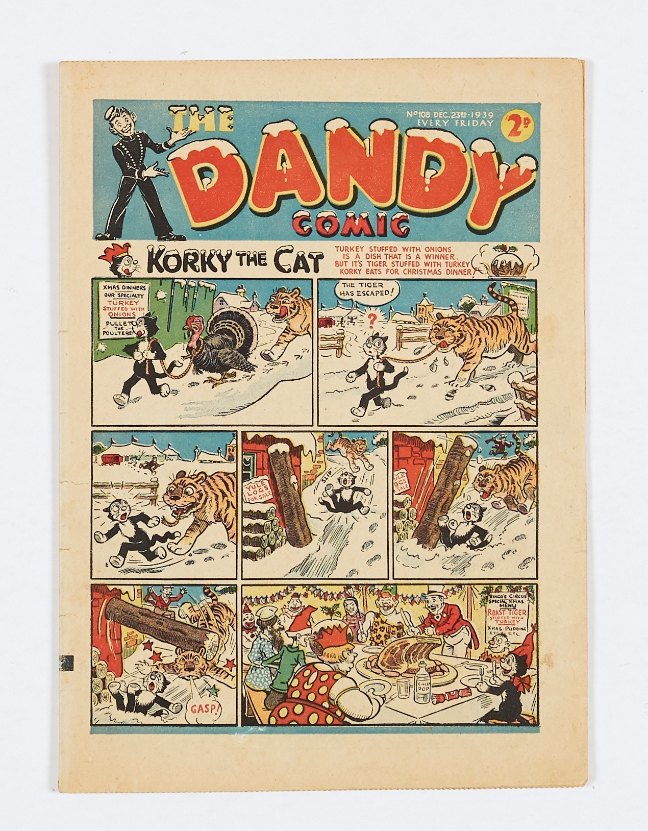 Lot 9 - Dandy 108 (1939). Propaganda Christmas issue with Adie and Hermy looking for turkey… (you guessed