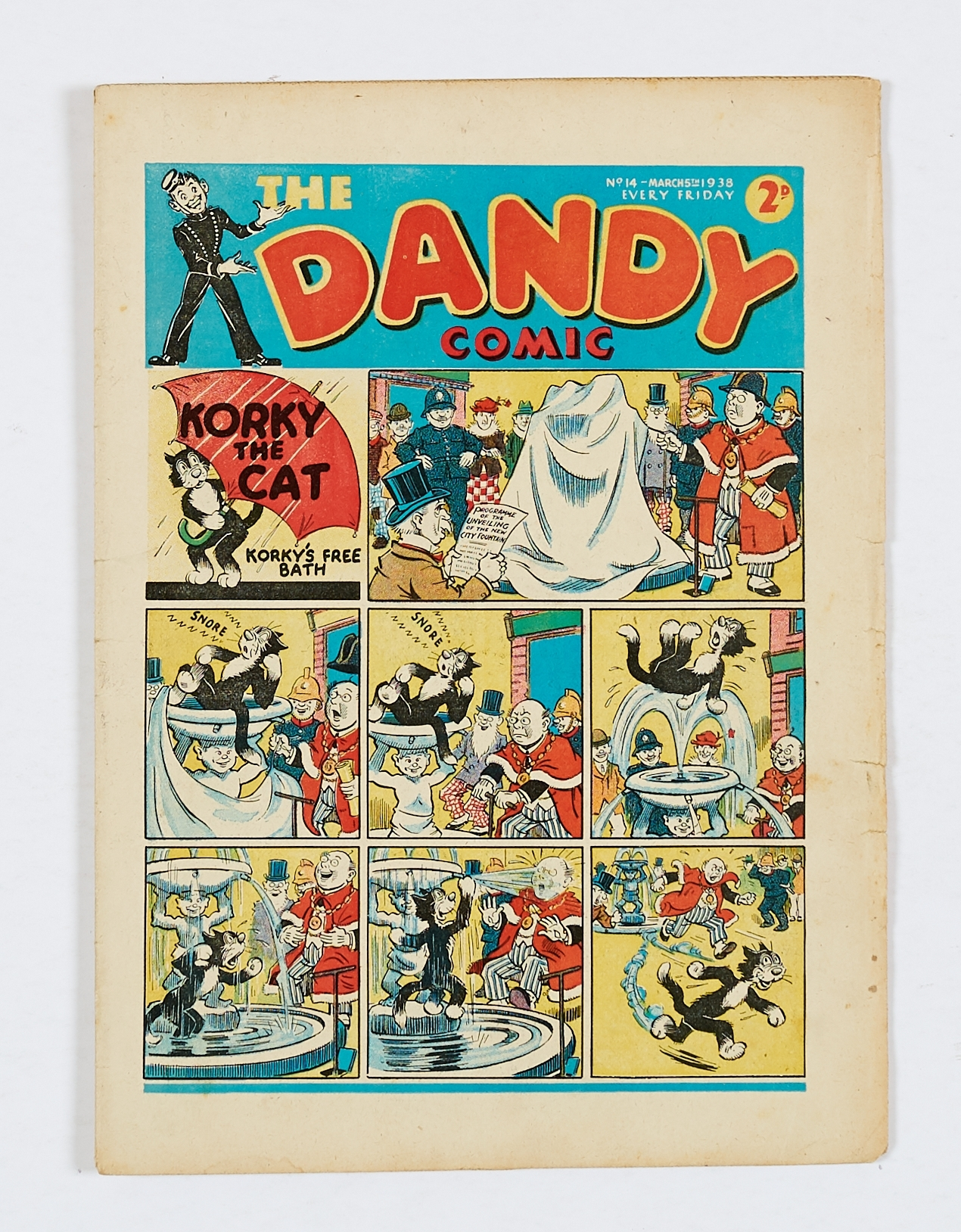 Lot 8 - Dandy No 14 (1938). Bright cover with some overhang edge wear, cream pages, a few light foxing spots