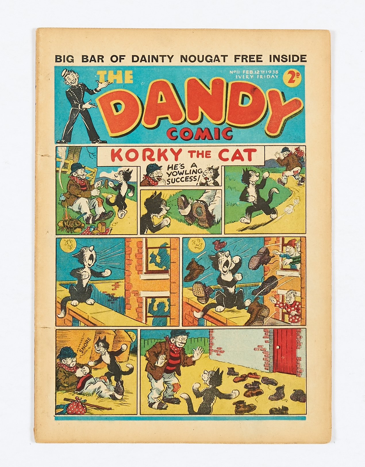 Lot 7 - Dandy No 11 (1938). Bright covers, five sewpholes to spine (retrieved from bound volume), cream/