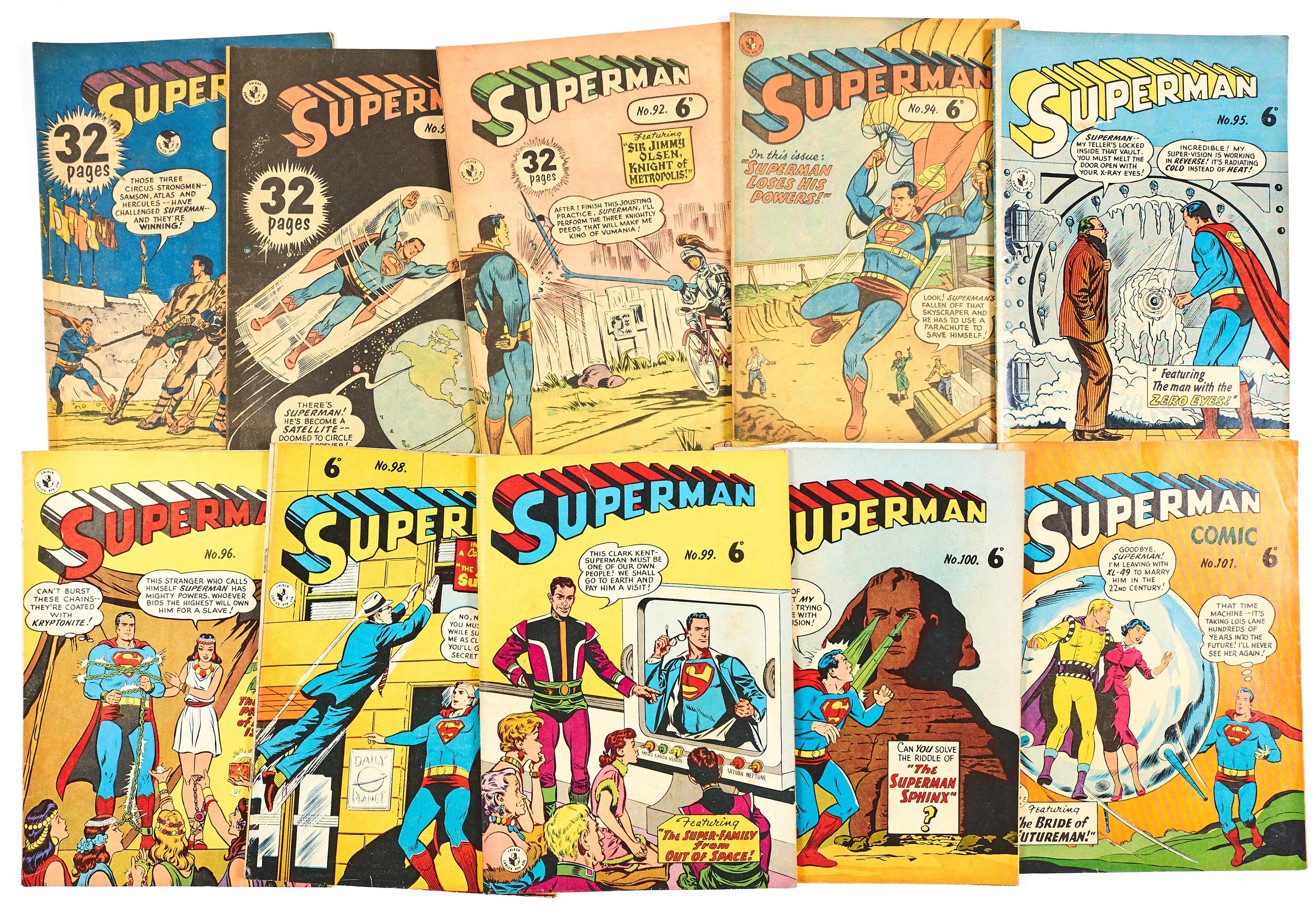 Lot 39 - Superman Australian reprints (1950s). 88, 90, 92, 94-96, 98-101 [vg/fn-] (10)