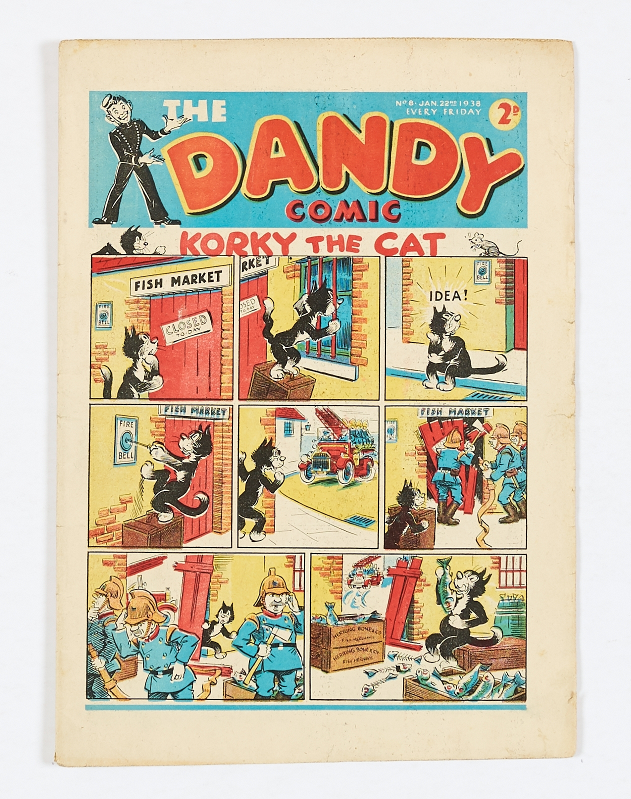 Lot 6 - Dandy No 8 (1938). Bright covers, cream pages, some light blemishes and tiny hole to back cover [