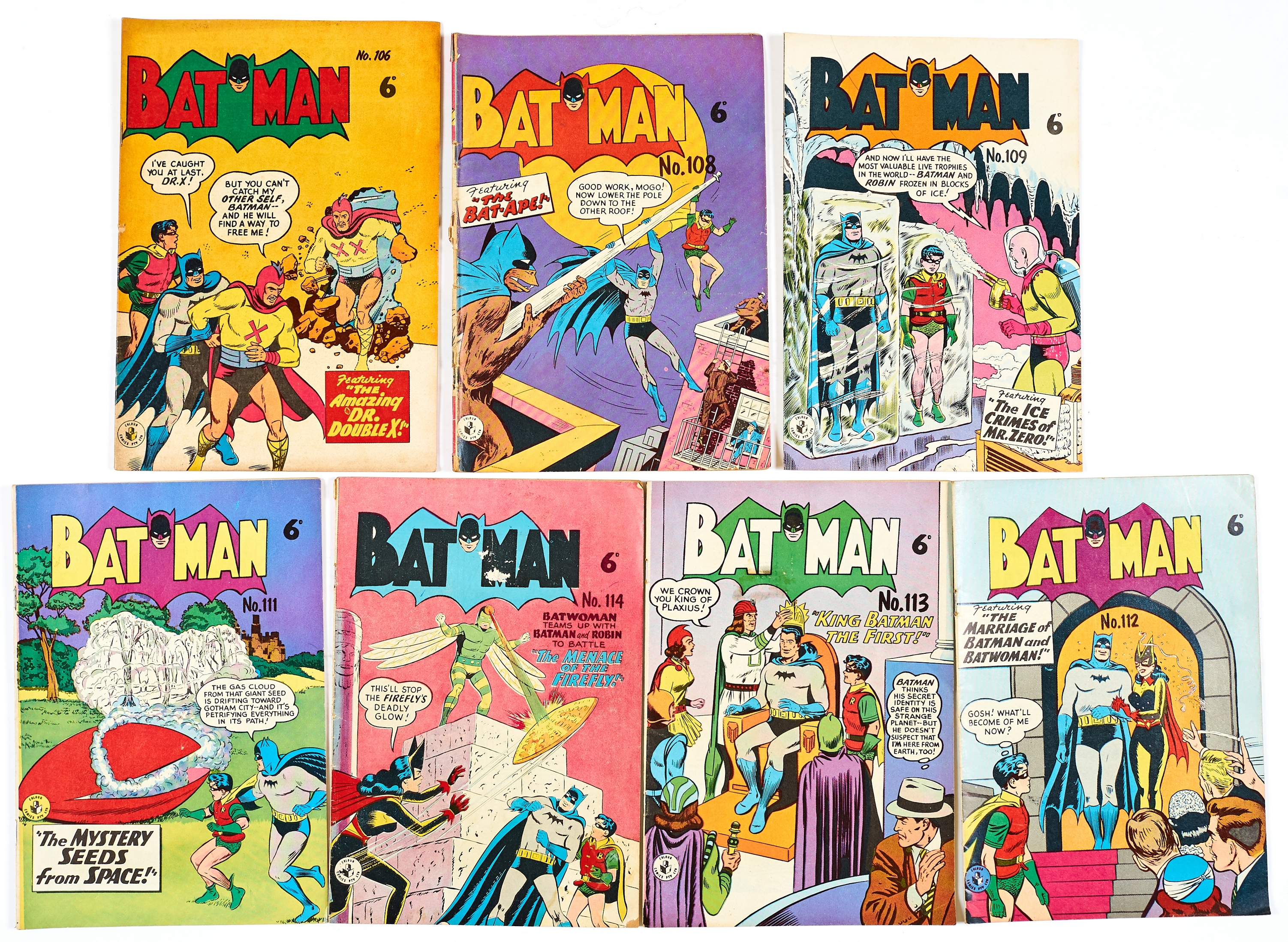 Lot 37 - Batman Australian reprints (1950s) 106, 108, 109, 111-114. No 108 [gd], balance [vg/fn-] (7)