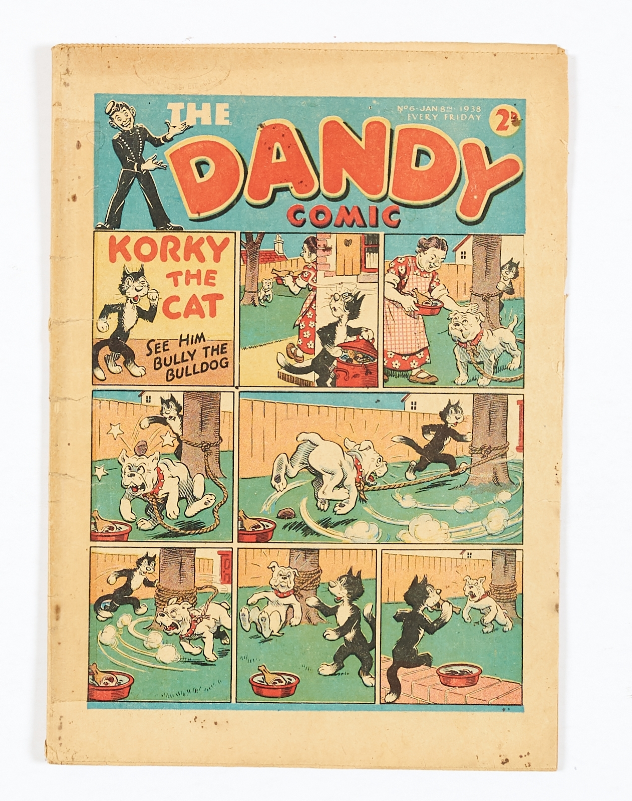 Lot 5 - Dandy No 6 (1938). Light tan pages, clear tape to spine with quarter inch right-hand edge trim to