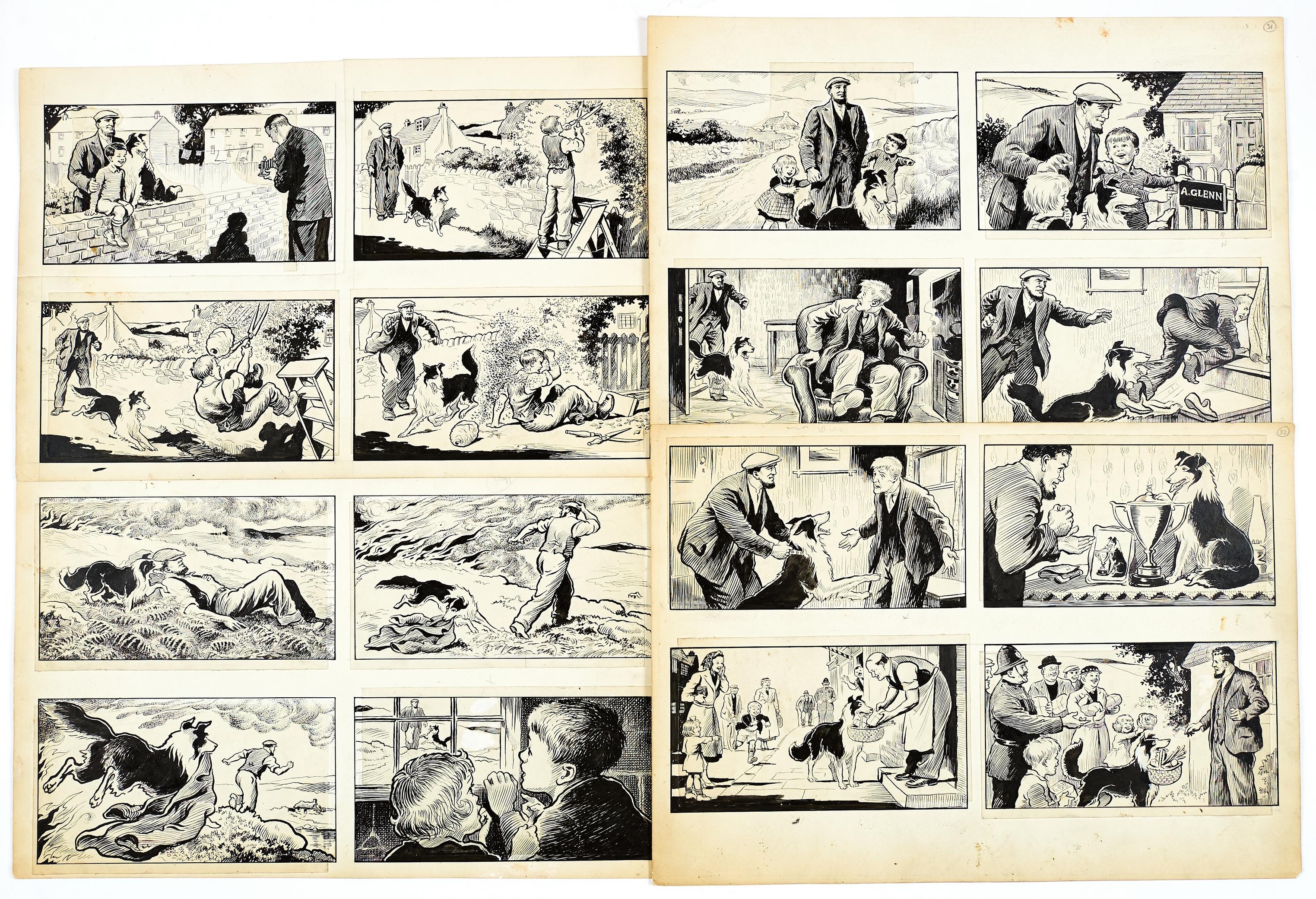 Lot 44 - Black Bob: 4 original 4-panel artworks (1950s) by Jack Prout for The Dandy/Black Bob Books. Indian