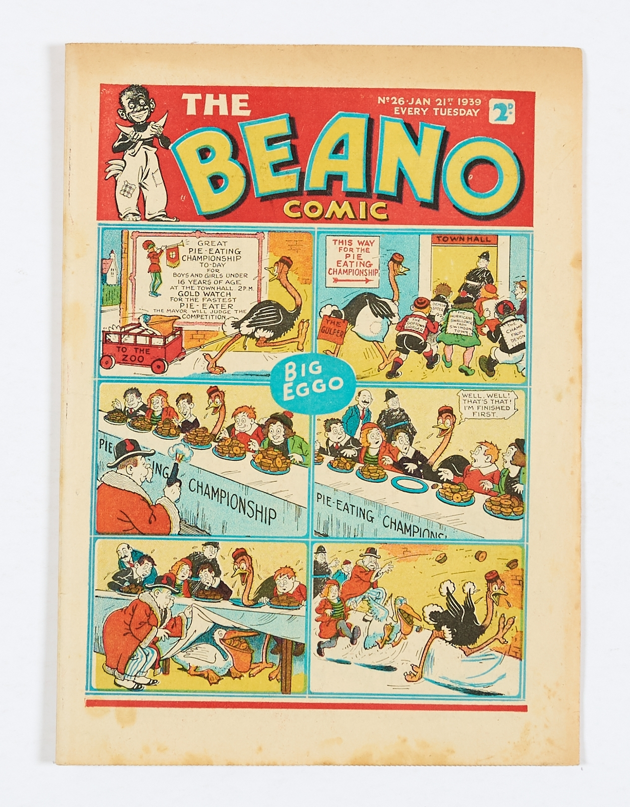 Lot 19 - Beano No 26 (1939). Bright covers, cream pages with light foxing blemishes to some page margins [