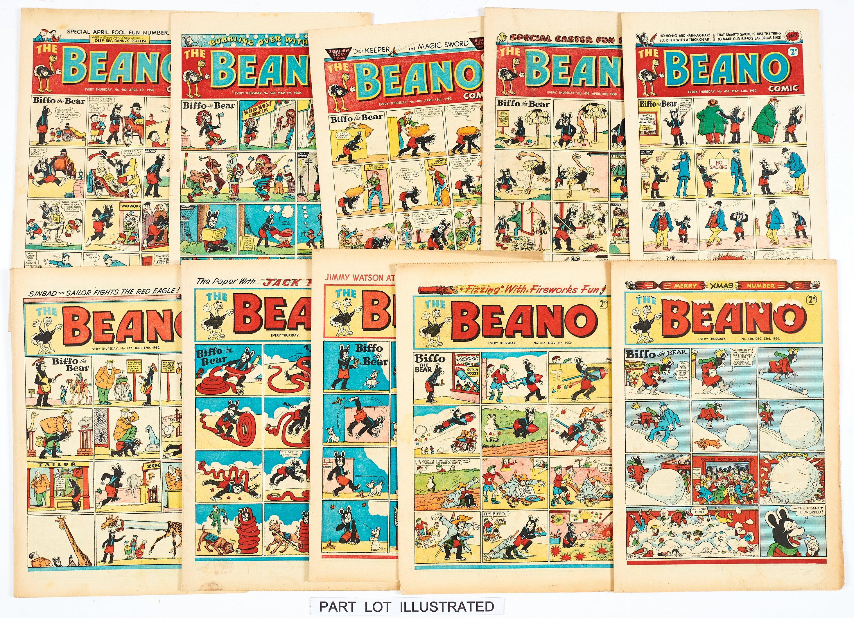 Lot 40 - Beano (1950) 391-441. Near complete year missing issue 390. Starring Jimmy and his Magic Patch, Jack