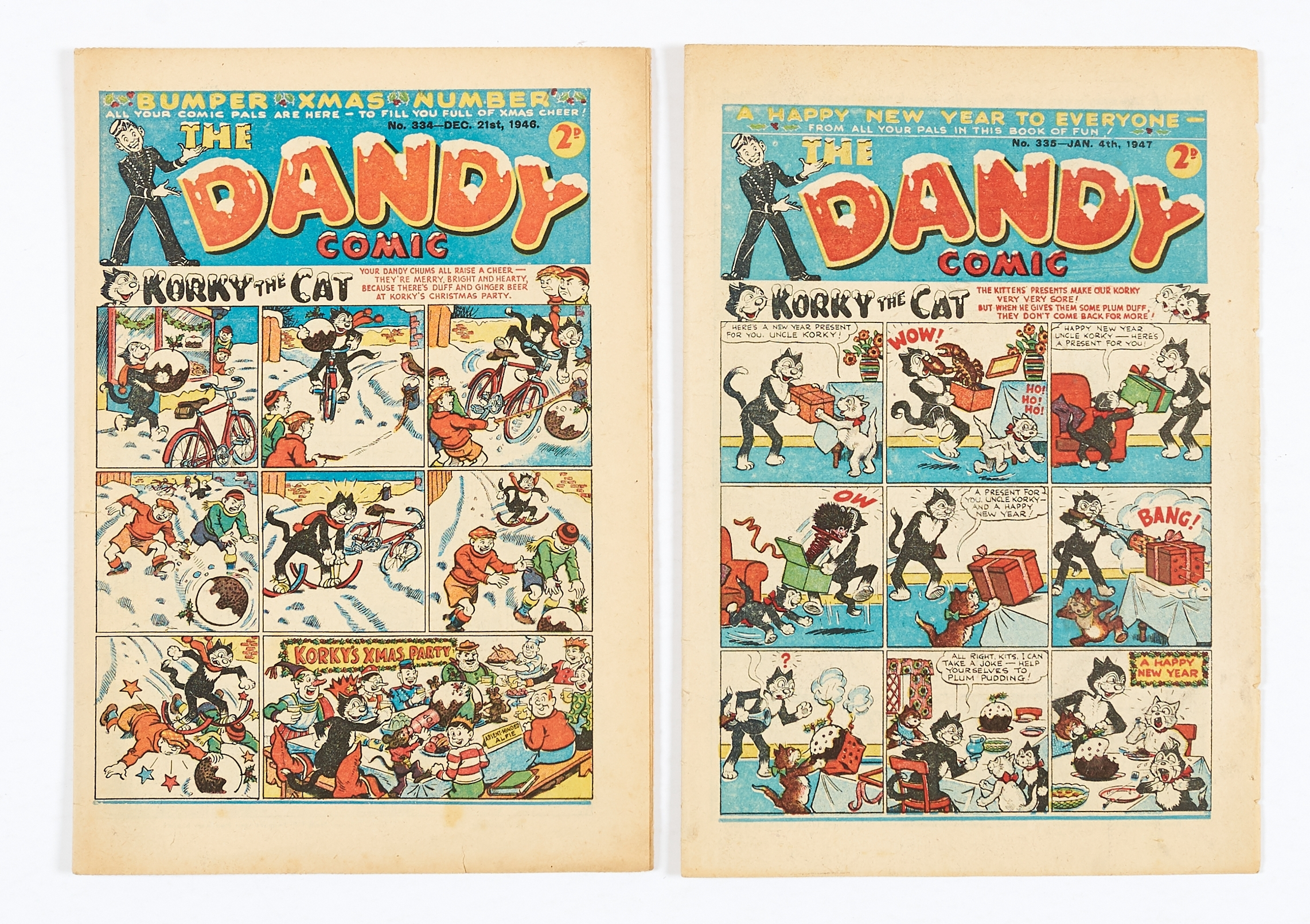 Lot 11 - Dandy 334 (1946) Bumper Xmas Number [fn]. With Dandy 335 91947) New Year [vg+] (2)