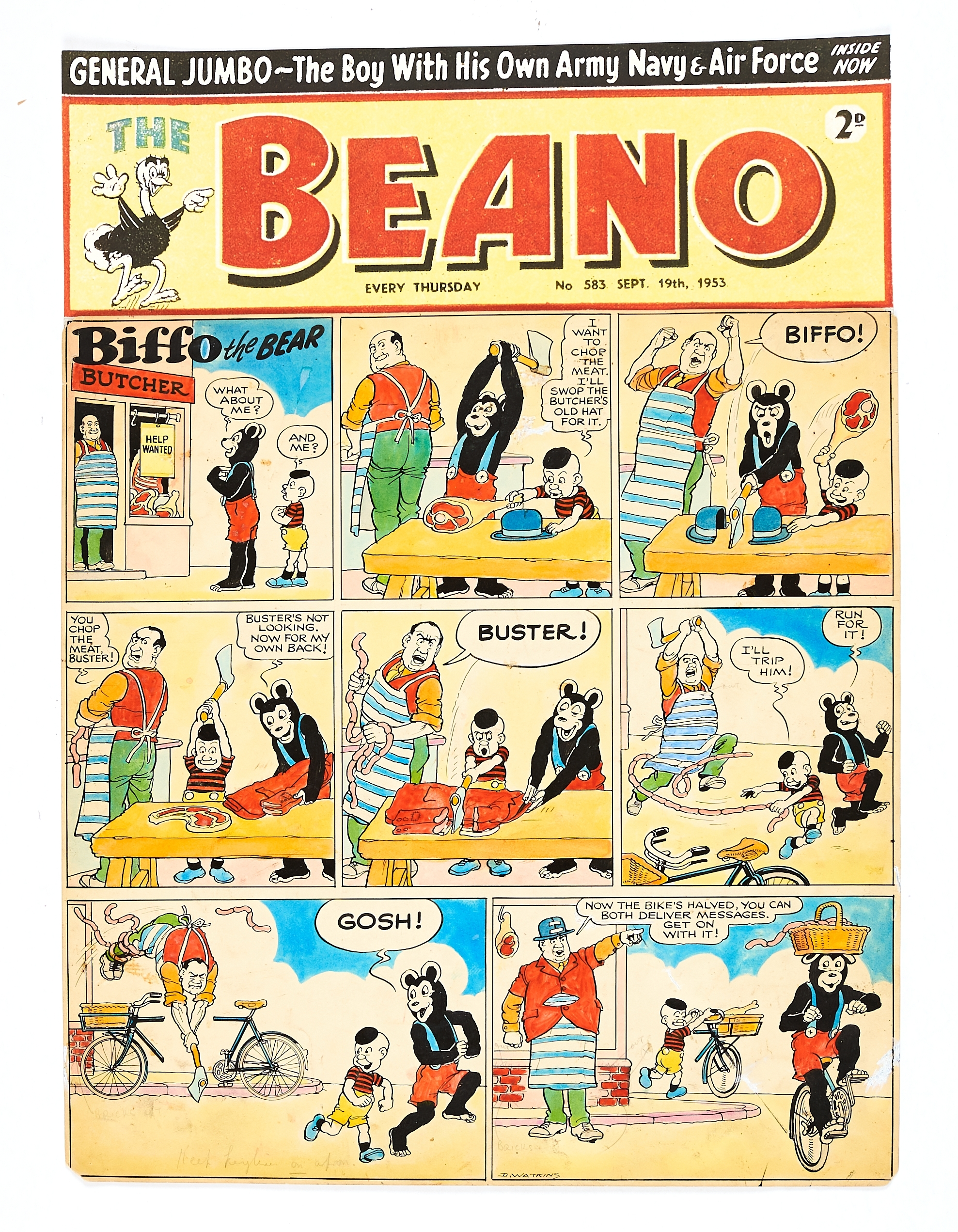 Lot 43 - The Beano/Biffo the Bear original front cover artwork (1953) drawn and signed by Dudley Watkins