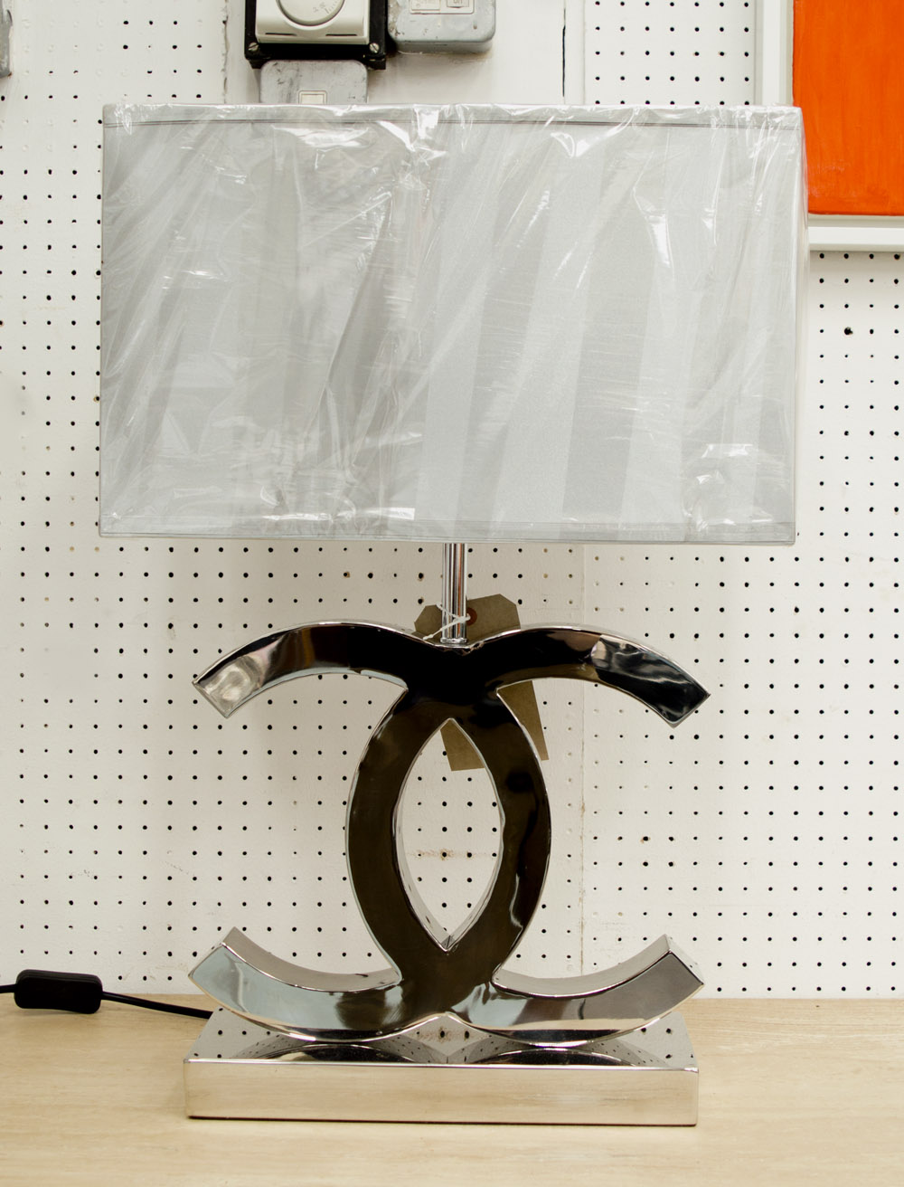 Lot 78   CO CO TABLE LAMP, Chanel Style, Plated Metal Base,