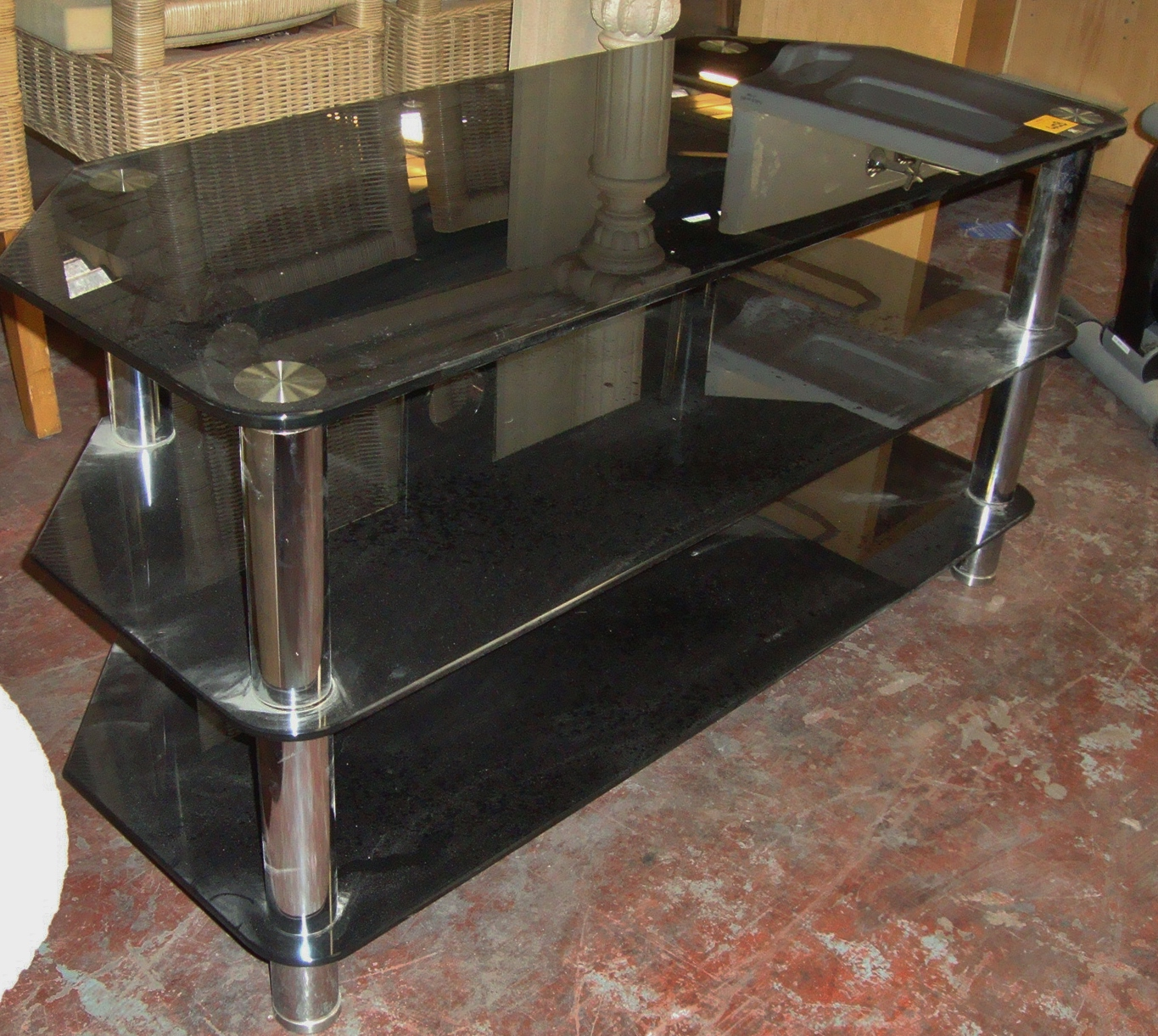 Lot 403 Black glass & silver metal 3 shelf AV stand #926839