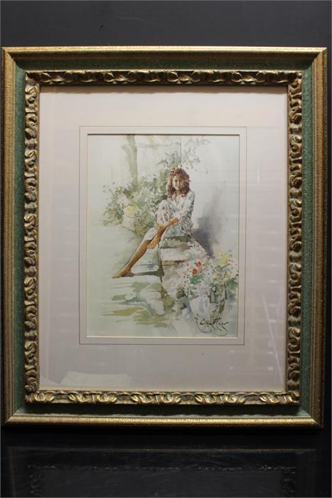 Lot 159 - After Gordon King - a print of a girl sitting on a bench.