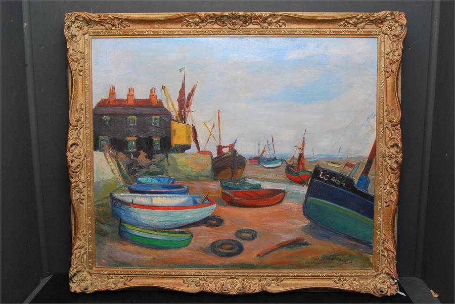Lot 173 - Patrick Edward Joll. (20th century British) ' Boats ' Oil on canvas. Bearing signature lower right