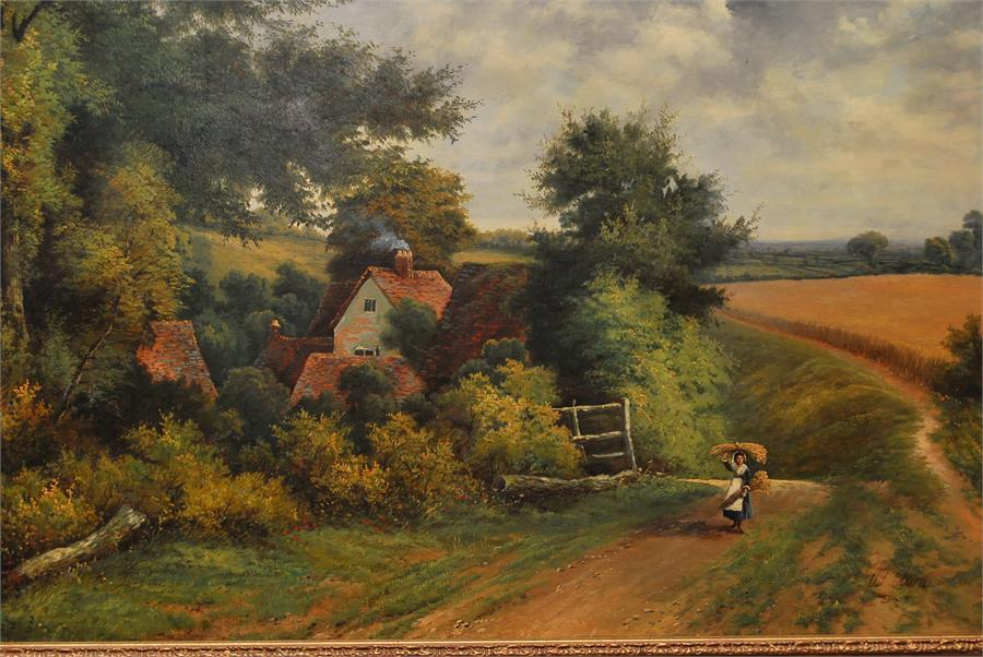 Lot 169 - Octavius T Clark [British 1850-1921] - A pair of large oil on canvas landscape paintings, one a