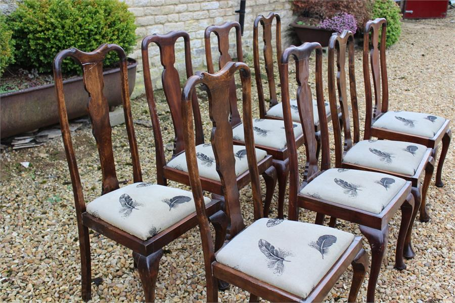 Lot 85 - Eight Queen Anne style dining chairs with cabriole front legs.