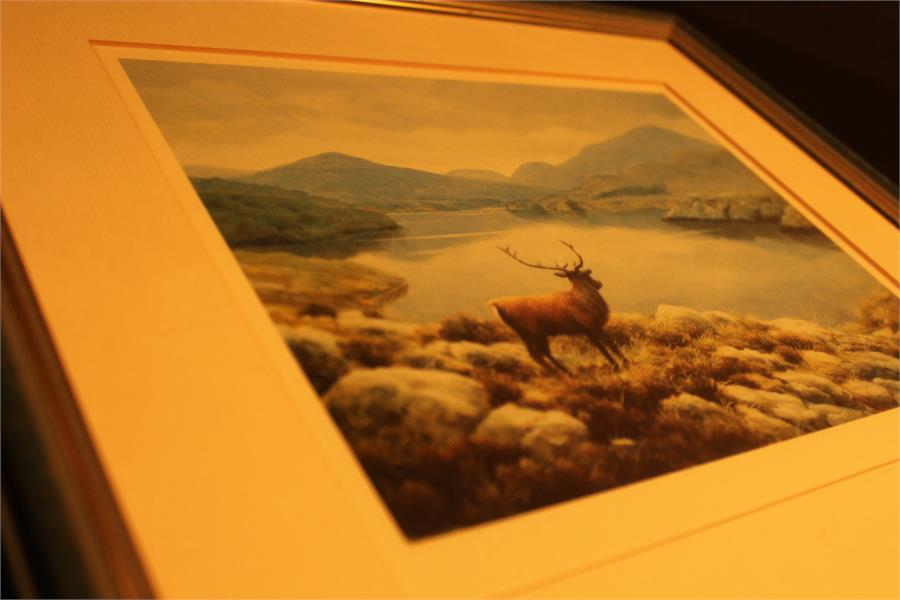 Lot 175 - After Julian Friers - A blind stamped print of a stag overlooking lake, after Frederick Haycock a