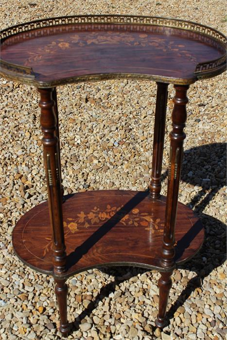 Lot 77 - Kidney shaped rosewood or mahogany two tier table / etagere, french style, floral marquetry inlaid