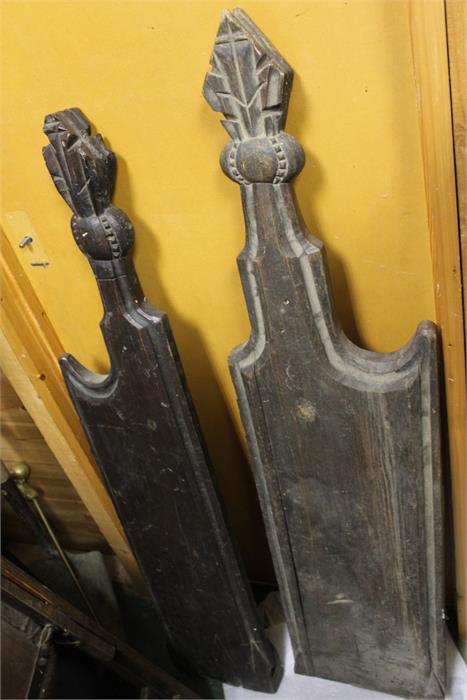 Lot 2 - Two matched pew ends probably 18th century oak, carved finials.