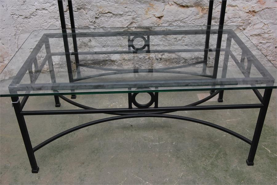Lot 99 - Console table steel base with clear glass top with matching coffee table.