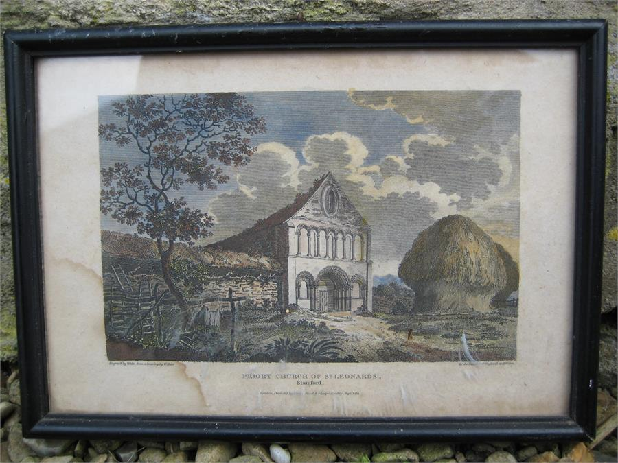 Lot 135 - Of local interest: A small engraving of the Priory Church of St Leonards Stamford. Engraving by
