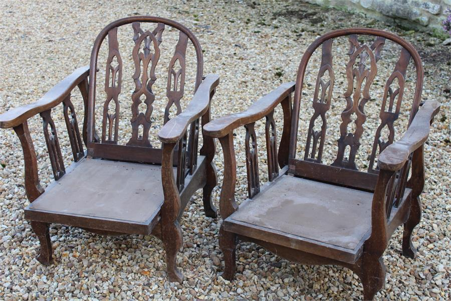 """Lot 48 - Arts and crafts style reclining steamer chairs, each stamped """"2176"""""""