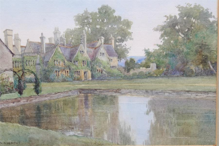 Lot 171 - Edith A Andrews (British 19th / 20th Century) A watercolour of a country house and lake, possibly of