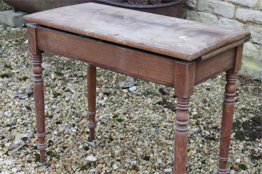 Lot 43 - Oak tea table for restoration (lacking end piece - see pics).