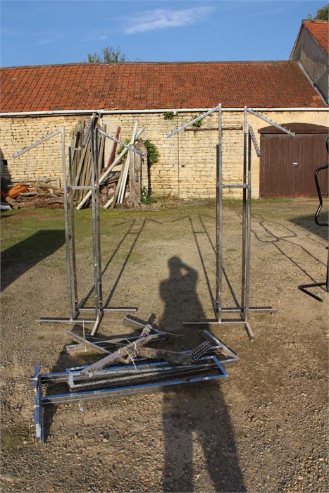 Lot 7 - Two sets of chrome clothes rails of square form plus parts.