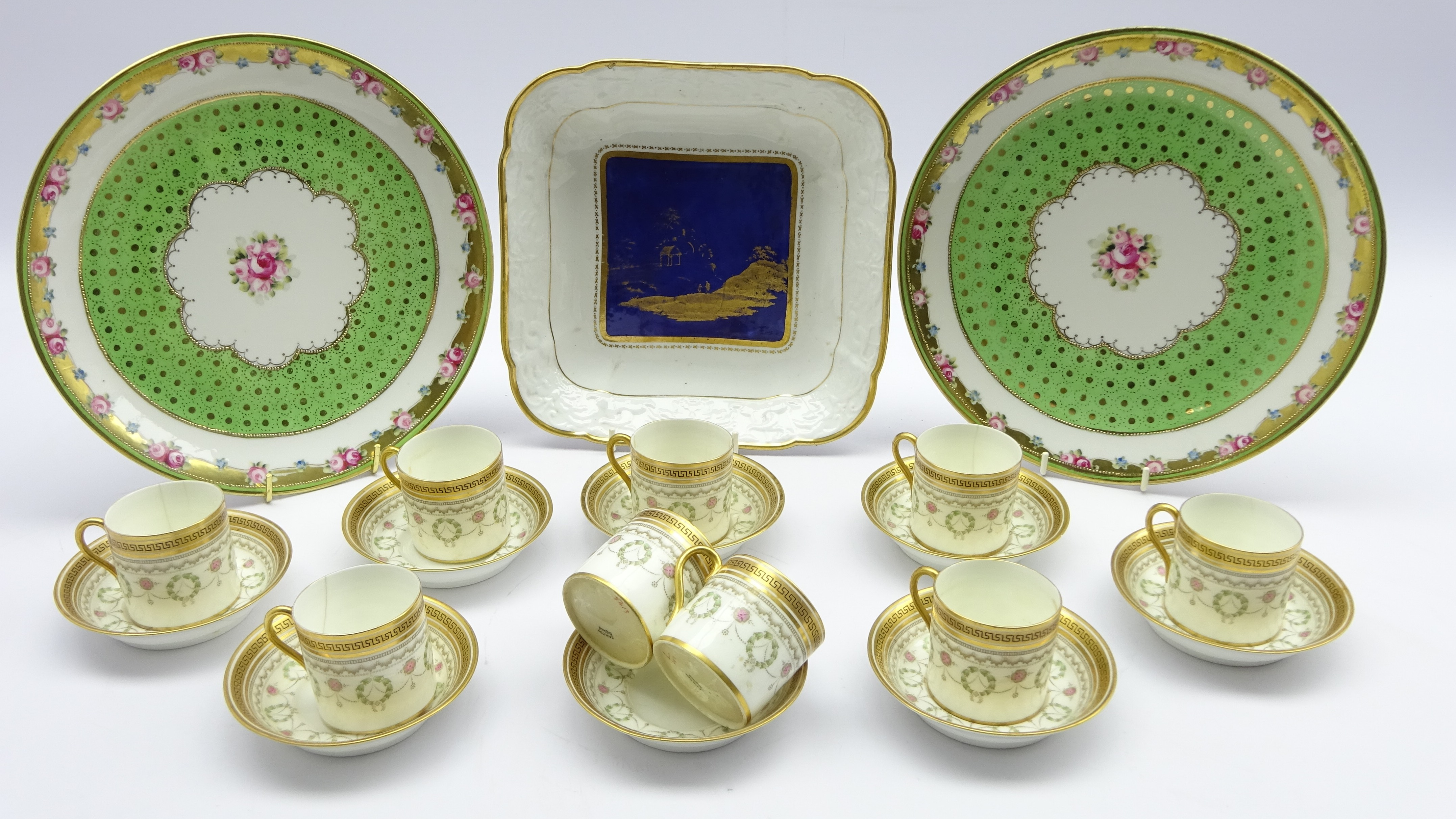 Lot 39 - Nine Cauldon coffee cans and eight saucers with key pattern border,