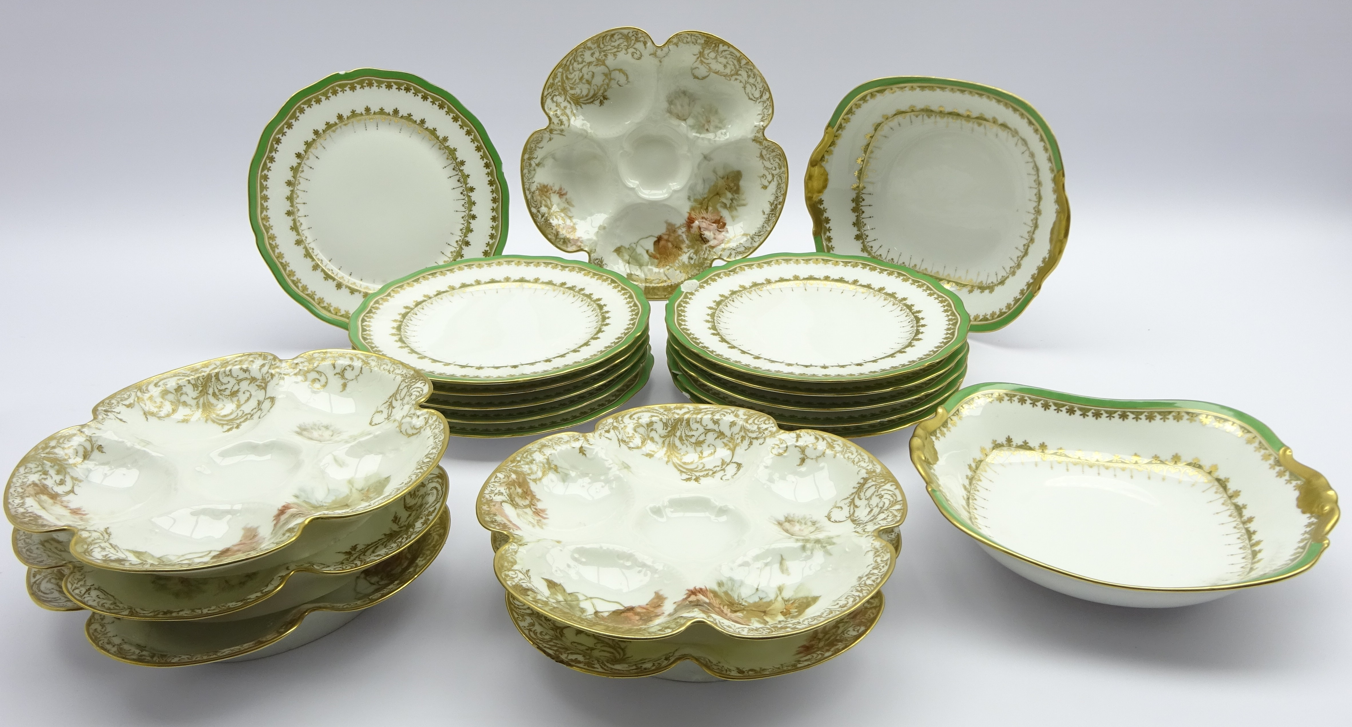 Lot 35 - Set of six Limoges Oyster plates, for J.E. Caldwell & Co.