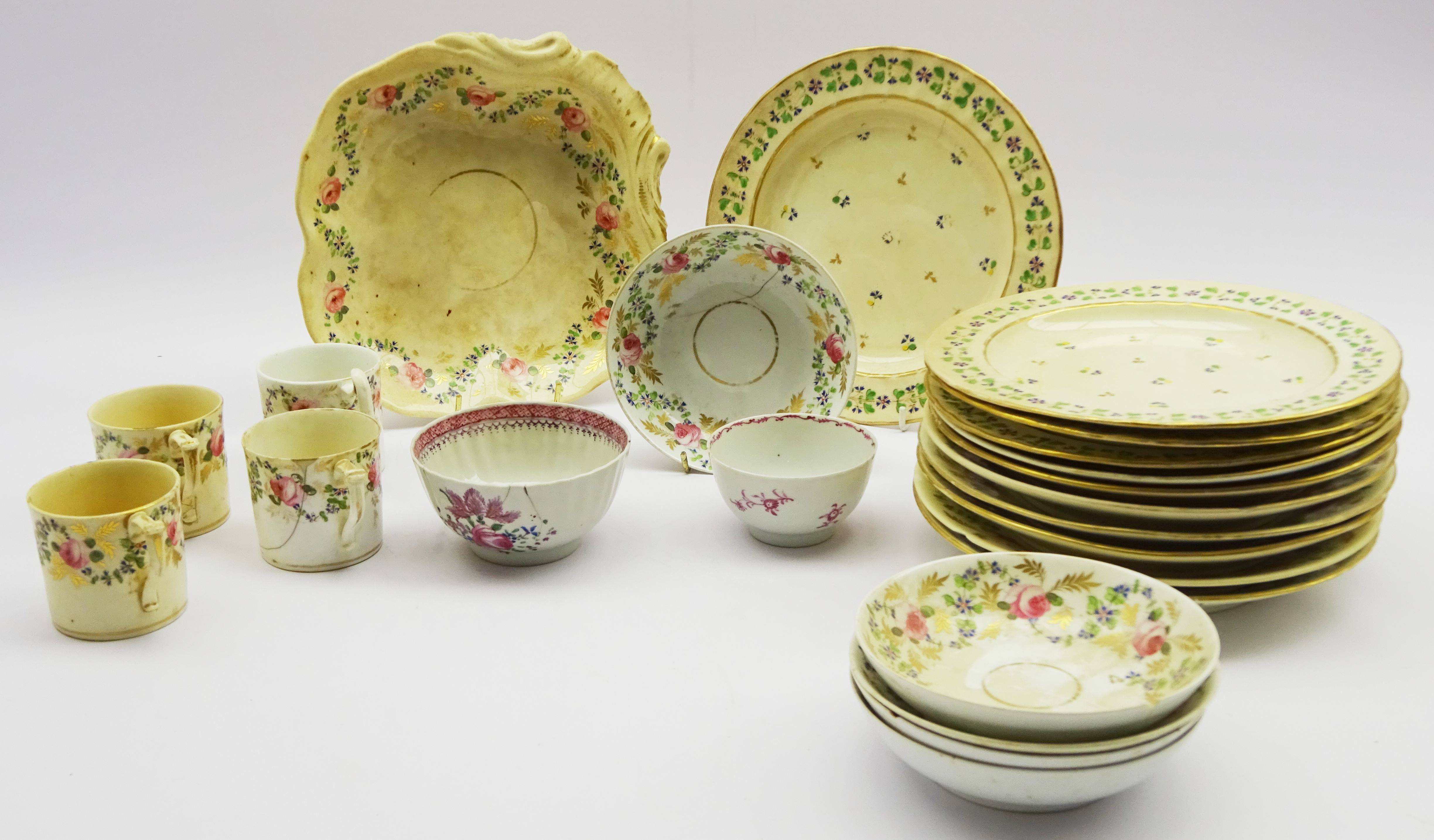 Lot 41 - Early 19th century Derby table ware decorated with floral sprays and two Newhall bowls (23)