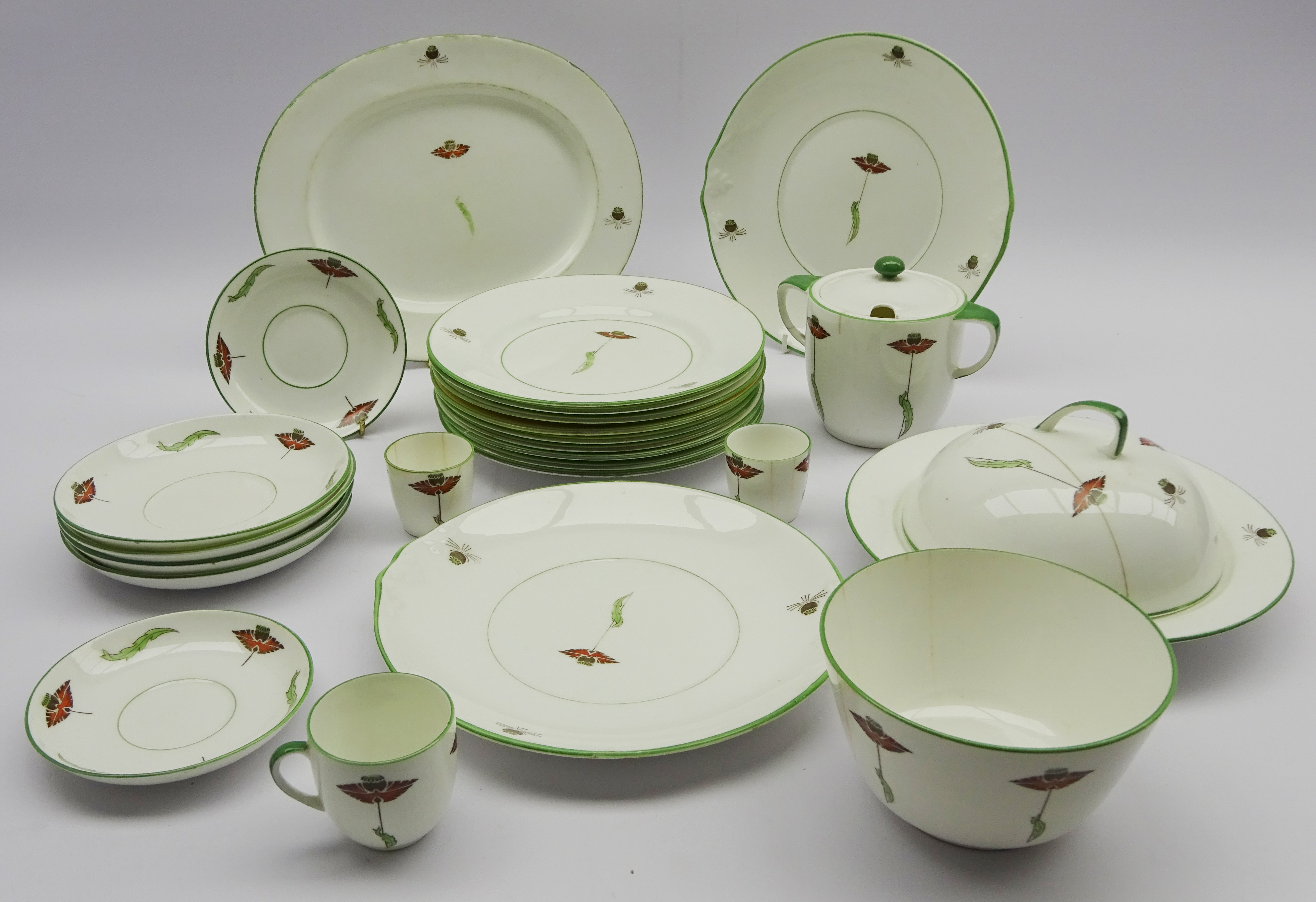 Lot 60 - Art Deco Foley Art China Peacock Pottery tableware (24) Condition Report & Further