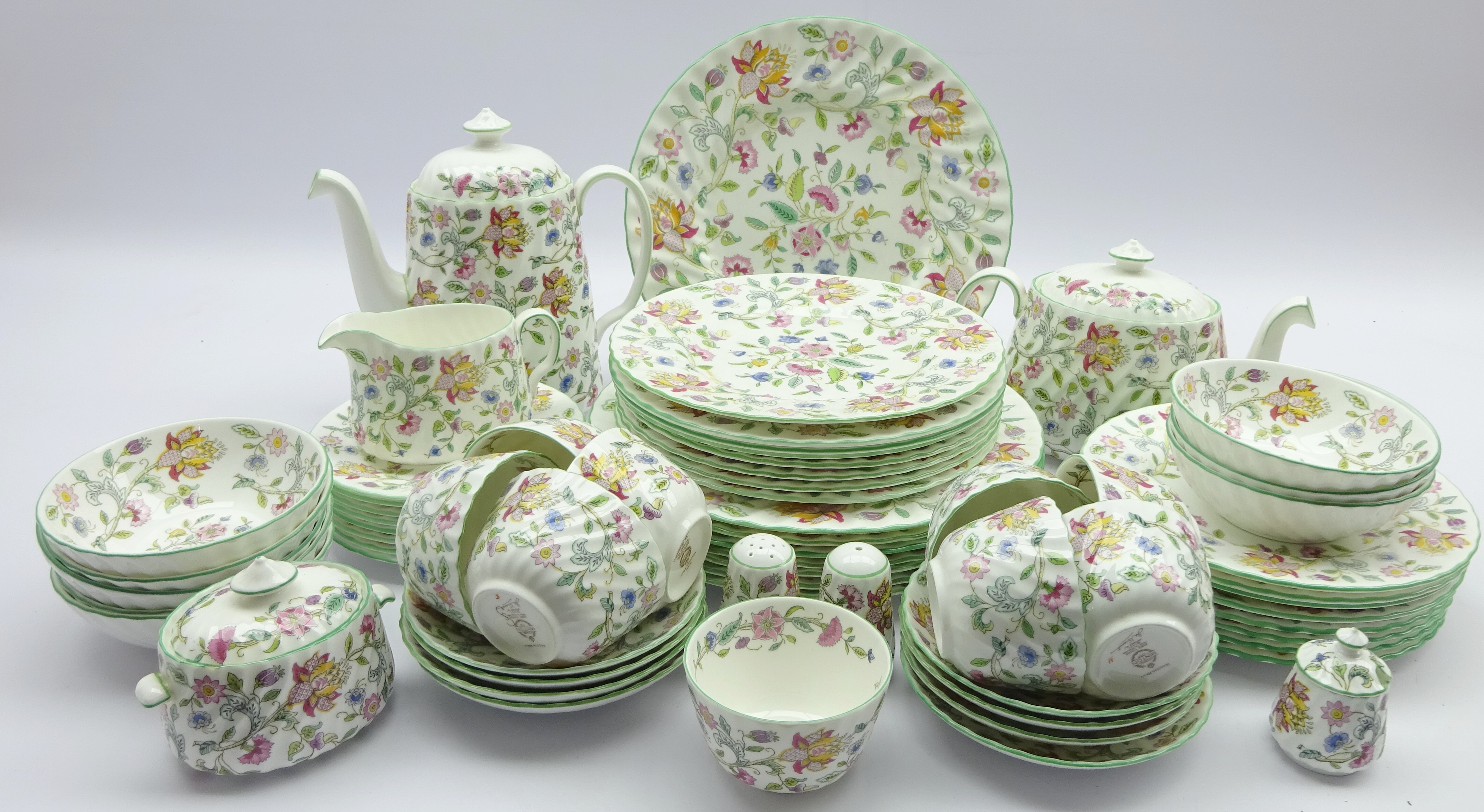 Lot 63 - Minton 'Haddon Hall' dinner and tea service, for eight persons including plates in various sizes,