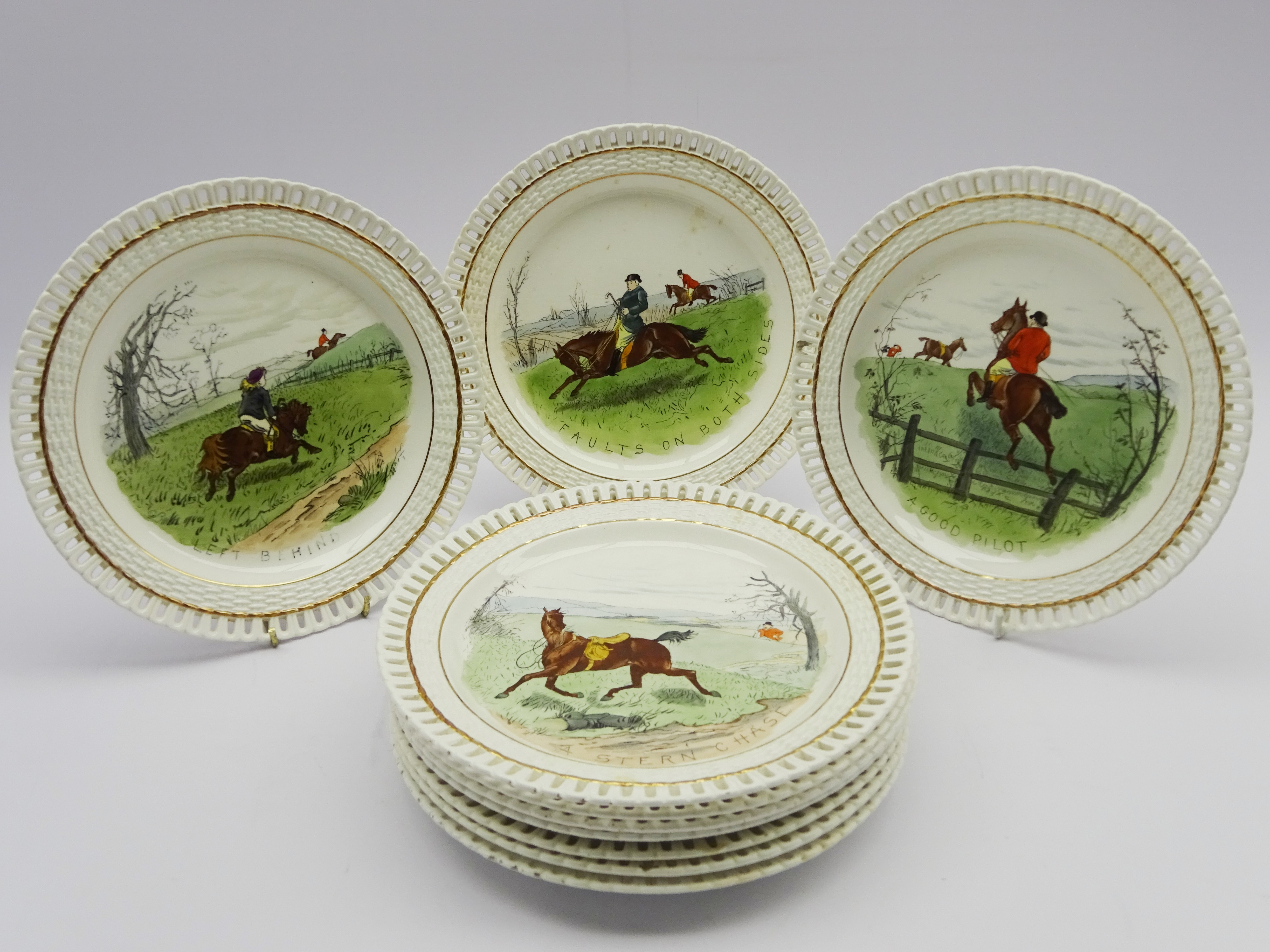 Lot 31 - Set of ten Mintons Hunting plates with pierced borders,