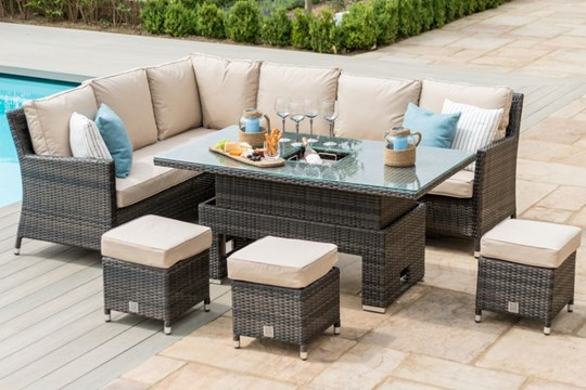 **RESERVE MET** Rattan Venice Corner Dining Set With Ice Bucket And Rising Table (Brown) *BRAND NEW*