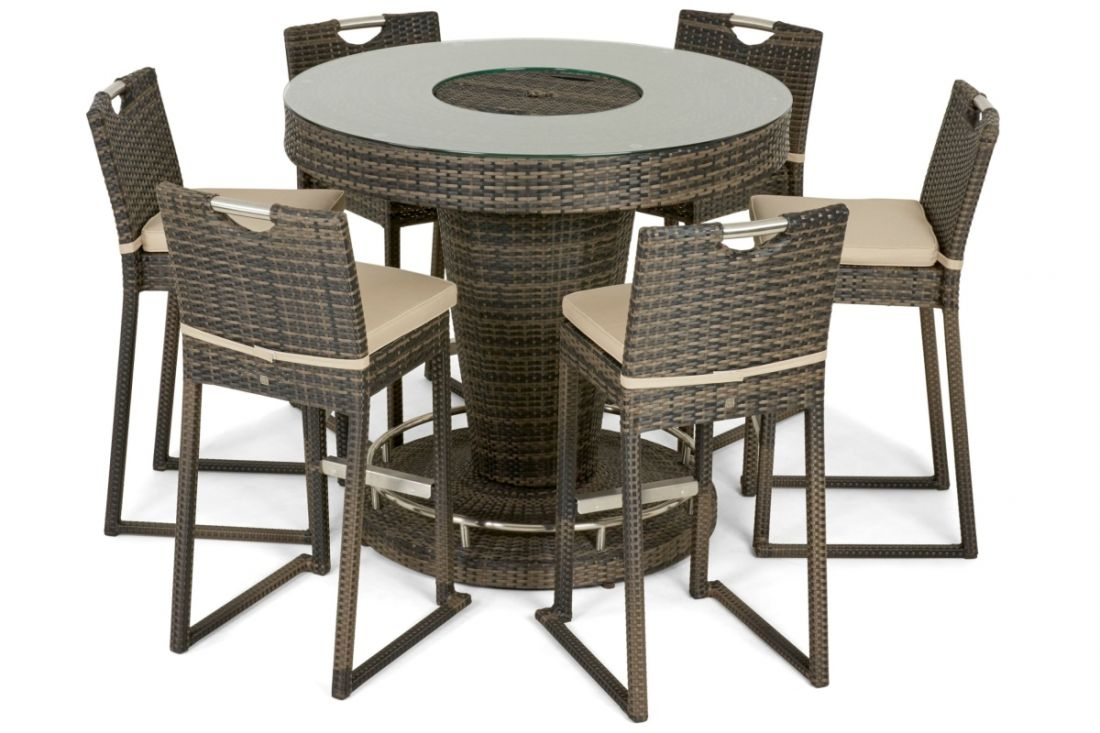 Rattan 6 Seat bar Set With Ice Bucket Feature (Brown) *BRAND NEW*