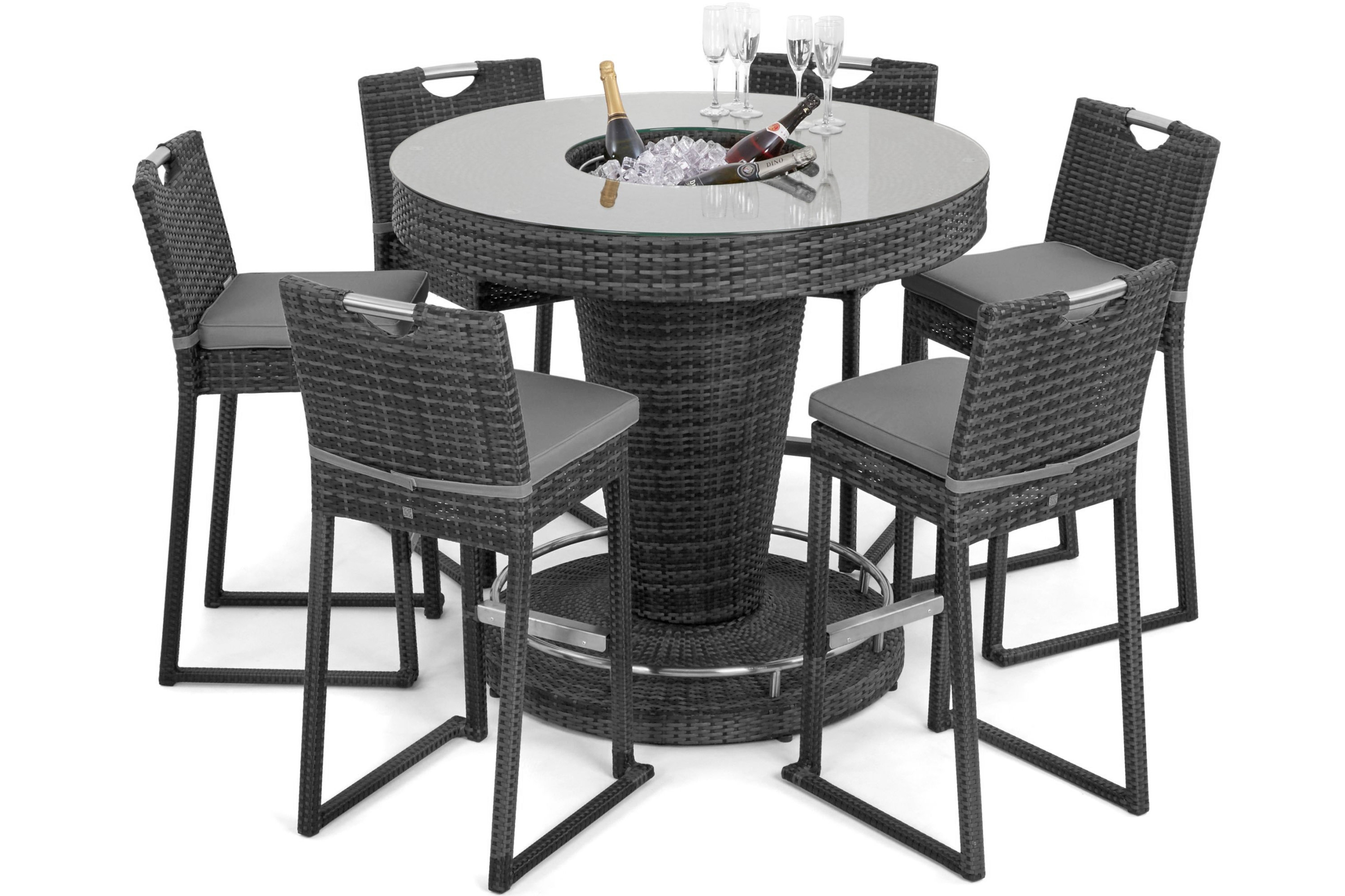 Rattan 6 Seat Bar Set With Ice Bucket Feature (Grey) *BRAND NEW* - Image 2 of 2