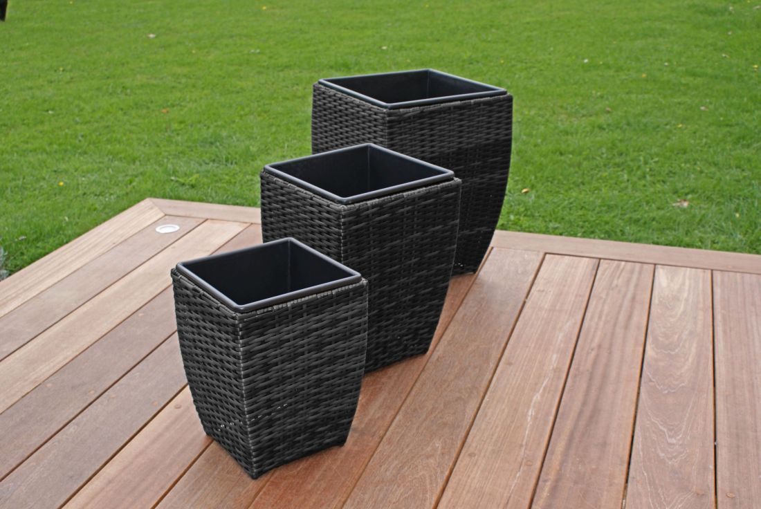 Rattan Shaped Planters Set (Grey) *BRAND NEW*