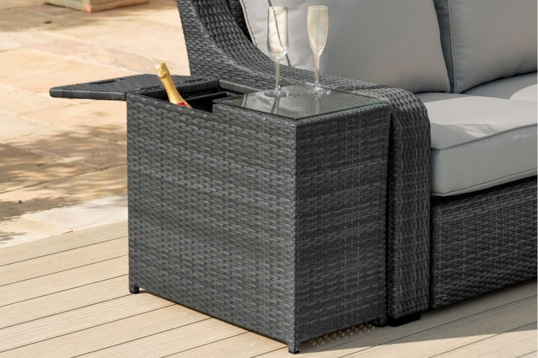Rattan Ice Bucket Side Table (Grey) *BRAND NEW*