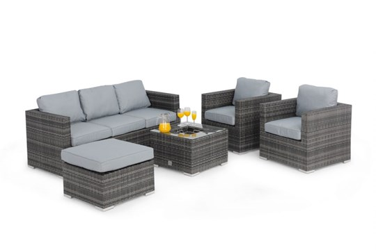 Rattan Georgia 3 Seat Sofa Set With Ice Bucket Feature (Grey) *BRAND NEW* - Image 3 of 4