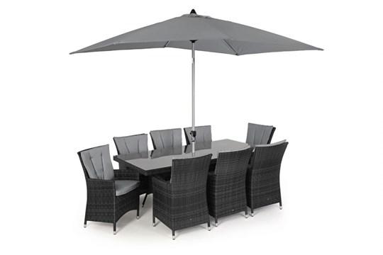 Rattan LA 8 Seat Rectangular Dining Set With Parasol (Grey) *BRAND NEW*