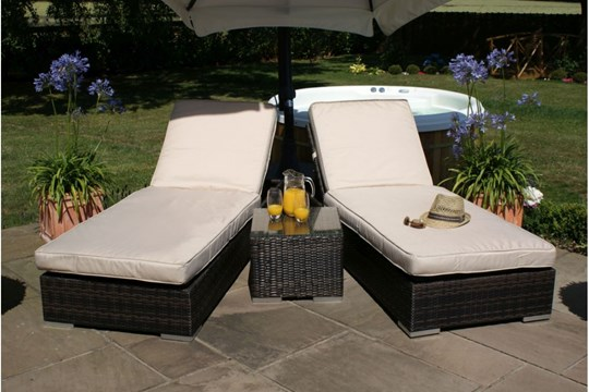 Rattan Orlando Sun lounger Set (Brown) *BRAND NEW*