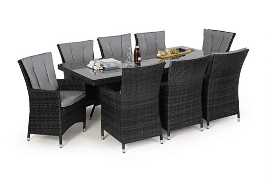 Rattan LA 8 Seat Rectangular Dining Set With Parasol (Grey) *BRAND NEW* - Image 2 of 2