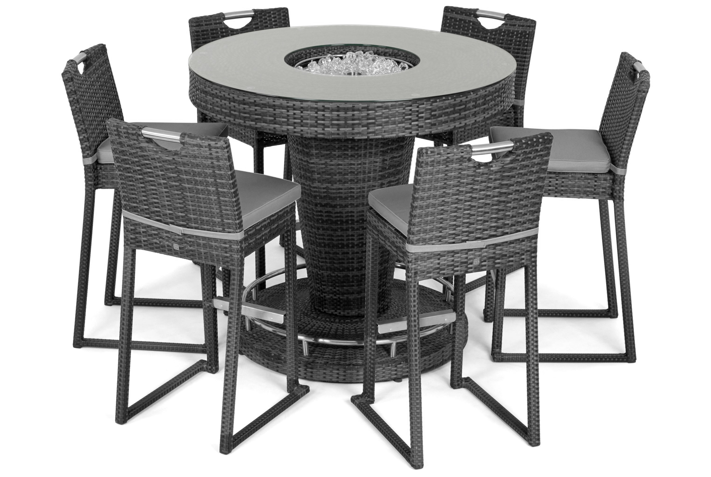 Rattan 6 Seat Bar Set With Ice Bucket Feature (Grey) *BRAND NEW*