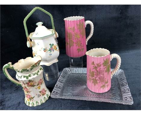 Selection of ceramics to include a Lytham jug approx 17cm tall, a Poutney Bristol lidded jar with handle approx 18cm tall and