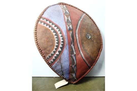 Kikuyu/Maasai, East Africa, Polychrome leather shield with